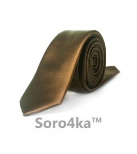 Коричневый узкий галстук ASTRON