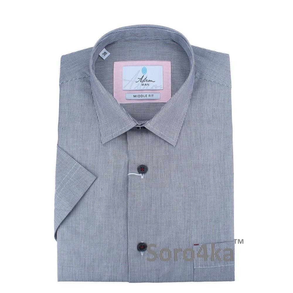 Сіра чоловіча сорочка на короткий рукав в смужку напівприталена ... f76b1d2b9d038