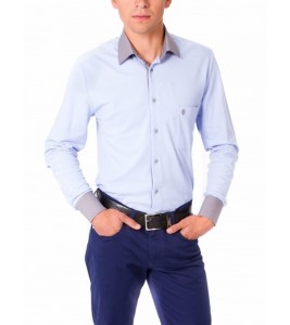 ГОЛУБАЯ РУБАШКА SLIM FIT ASTRON BLUE CASUAL TEXTIL