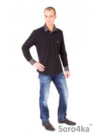 Чорна сорочка поло Slim Fit Astron Black Casual Textil