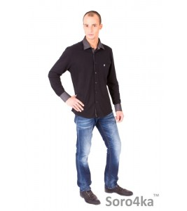 ЧЕРНАЯ РУБАШКА ПОЛО SLIM FIT ASTRON BLACK CASUAL TEXTIL