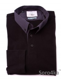 ЧЕРНАЯ РУБАШКА ПОЛО SLIM ASTRON BLACK CASUAL SIMPLE TEXTIL