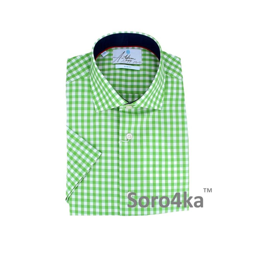 Купить зеленую мужскую рубашку Astron с коротким рукавом с ... 836771b4c1861