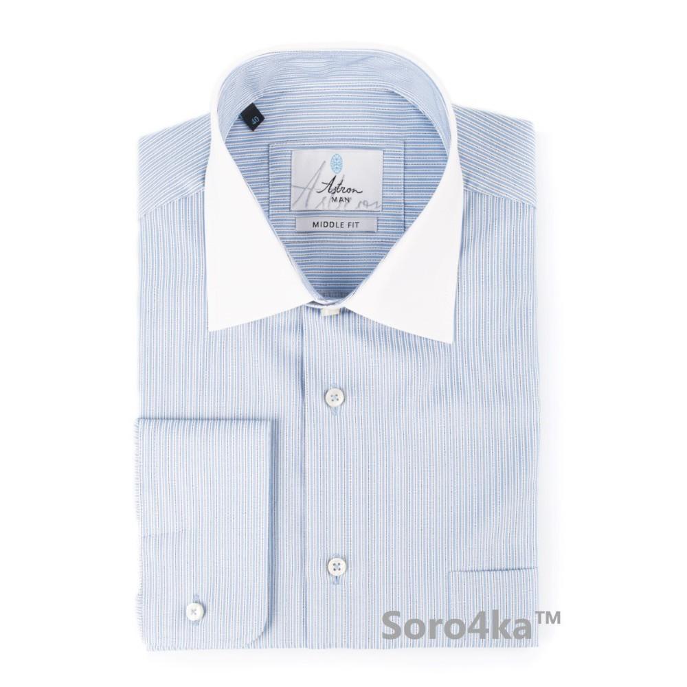 68464071264 Синяя рубашка с белым воротником Astron