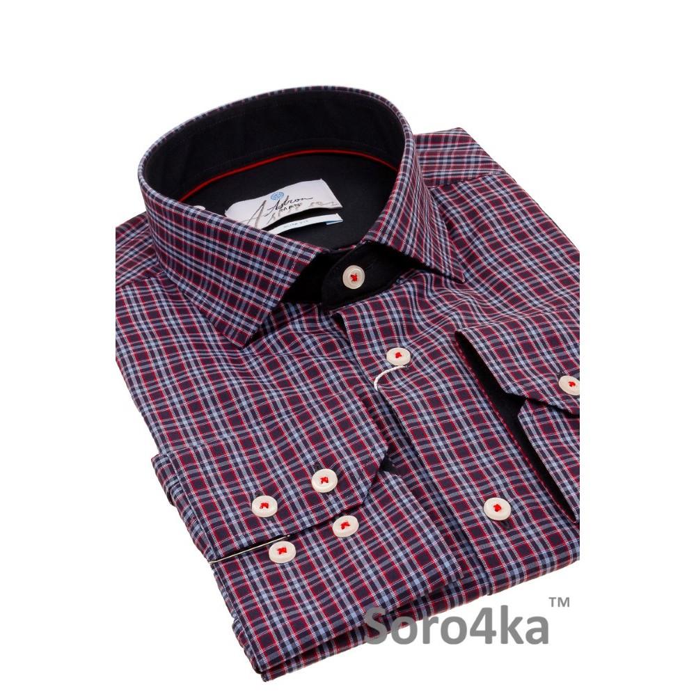 ea46b011fa3df26 Мужская приталенная голубая рубашка в клетку | Купить в интернет-магазине с  бесплатной доставкой по Украине