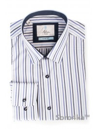 Голуба приталена сорочка Slim Astron в смужку