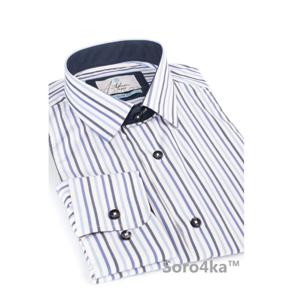 15801333ffd Голубая приталенная рубашка Slim fit Astron