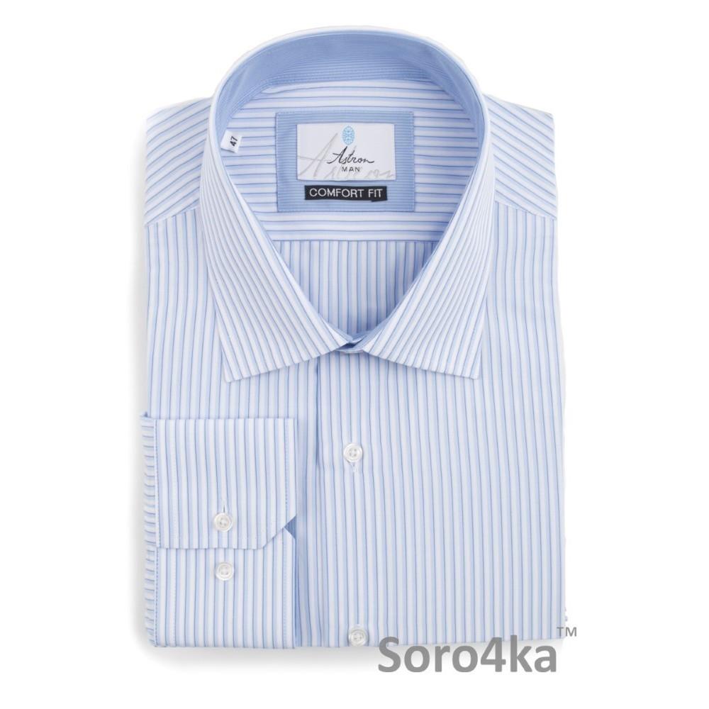 88751c69b71 Голубая рубашка больших размеров в полоску (XXL - 5XL) Astron ...