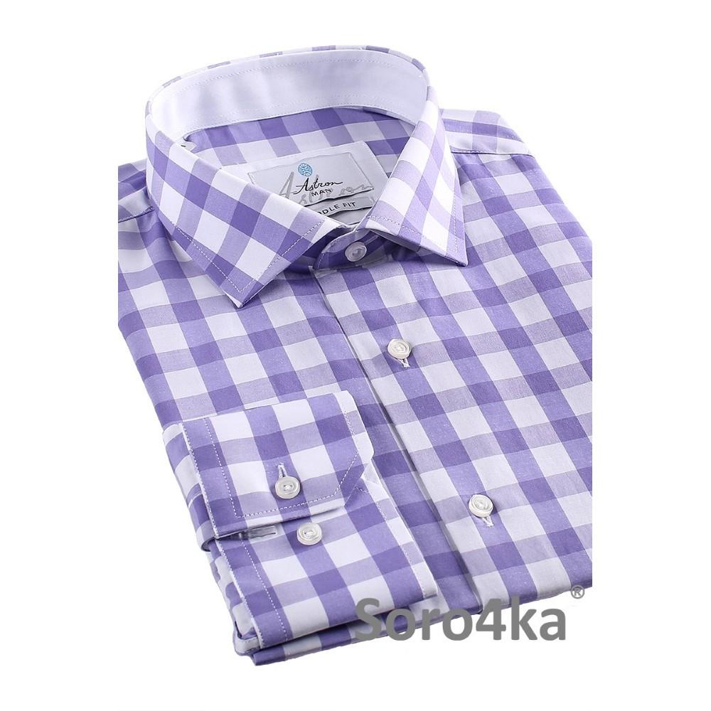 Стильна чоловіча сорочка в фіолетову клітинку на довгий рукав з ... 638273e445c75