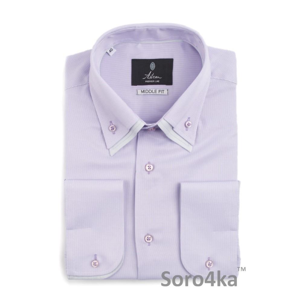Фіолетова напівприталена сорочка з подвійним коміром Astron  ff46a0960e1bc