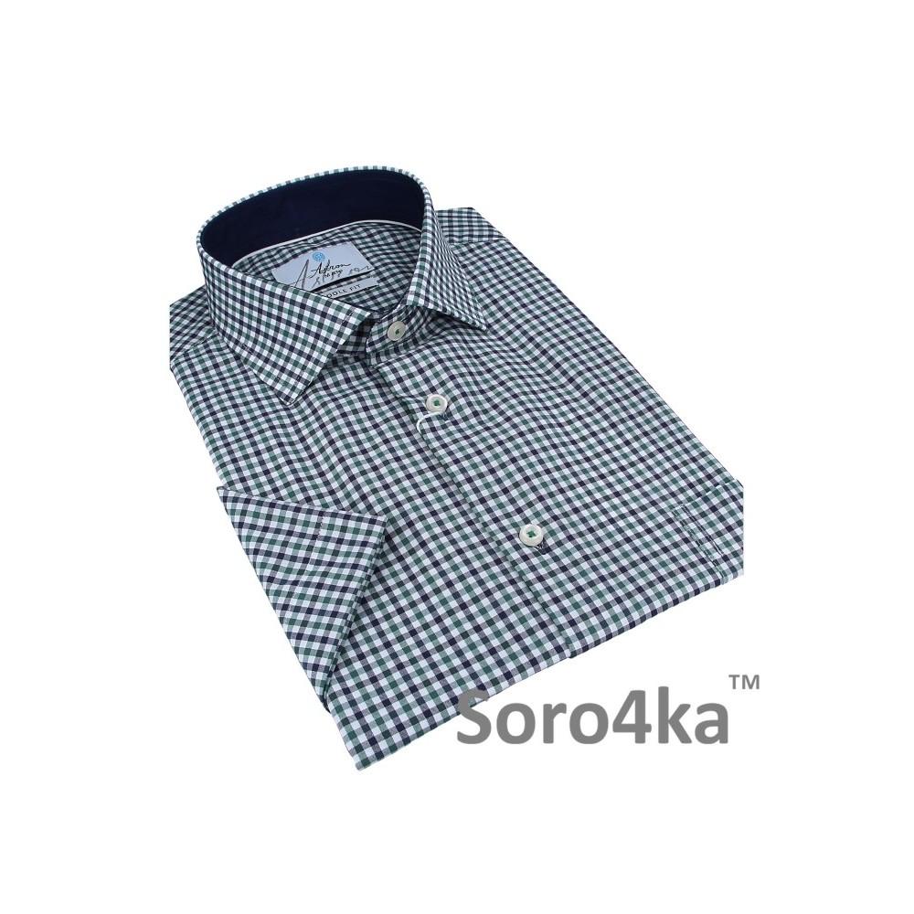 Купити чоловічу сорочку в зелену і синю клітинку на короткий рукав на літо  в інтернет магазині з безкоштовною доставкою додому у Києві  909152526e720