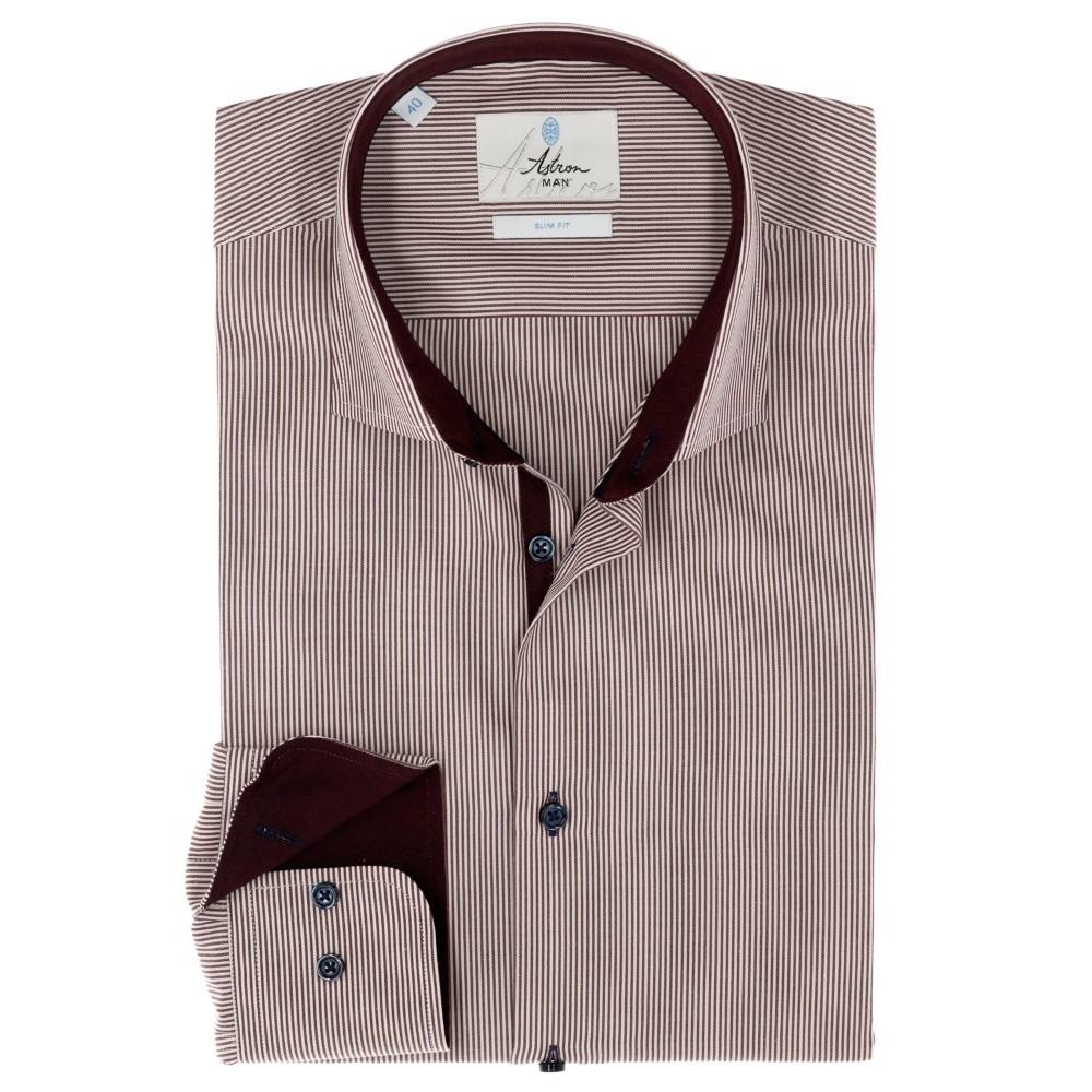 Стильна приталена сорочка Slim Astron в дрібну червону смужку ... 352176a4b3aa3