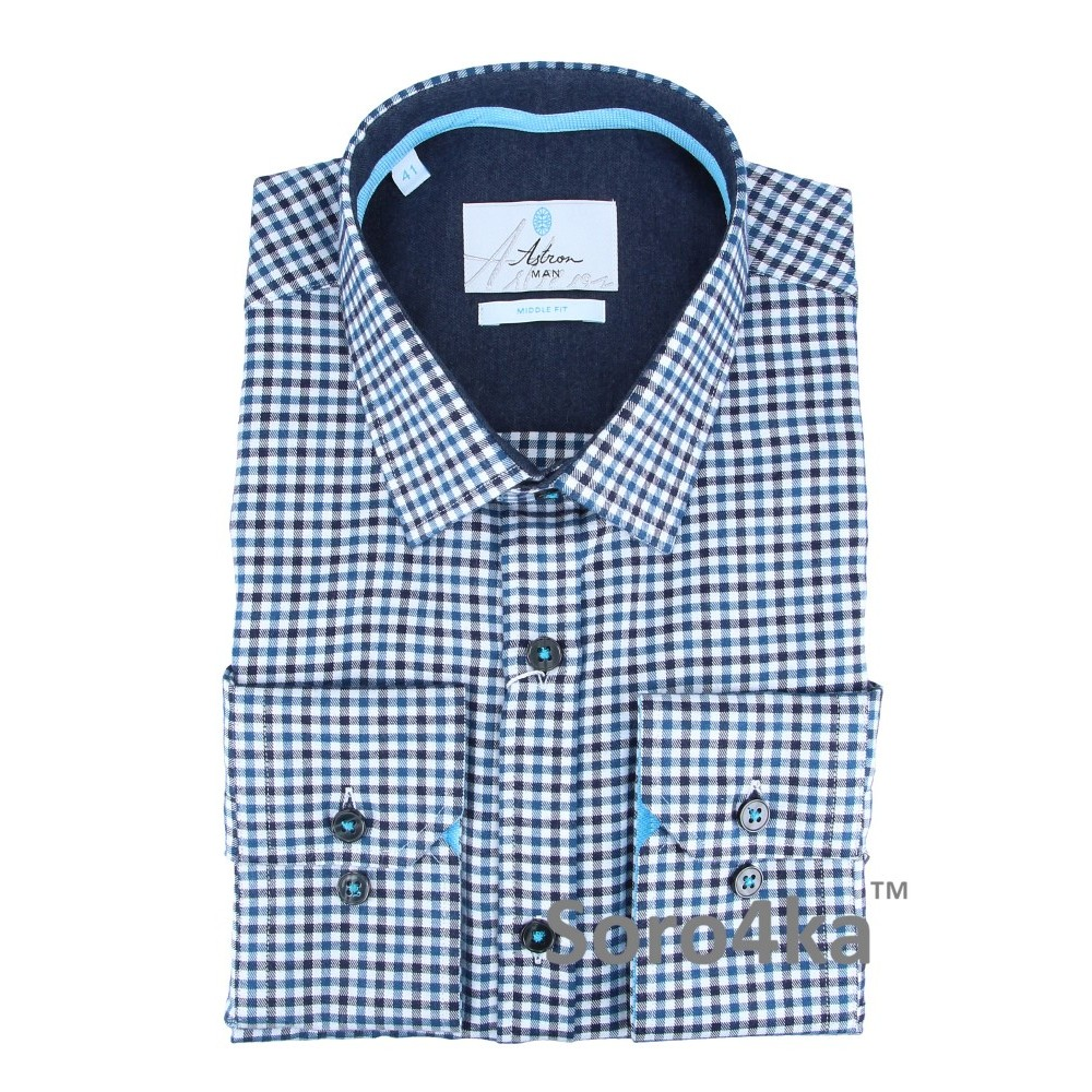Купити фланелеву сорочку в блакитну клітинку з безкоштовною ... eafb07c6c7843