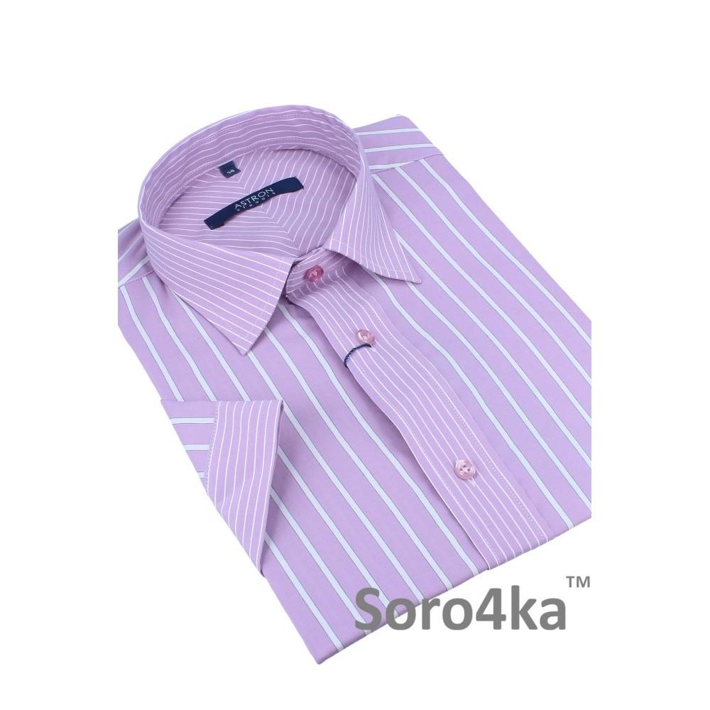 Сорочка в світло-фіолетову та білу смужку на короткий рукав Astron купити в  інтернет магазині з безкоштовню доставкою по Україні e89354ccfc1d3