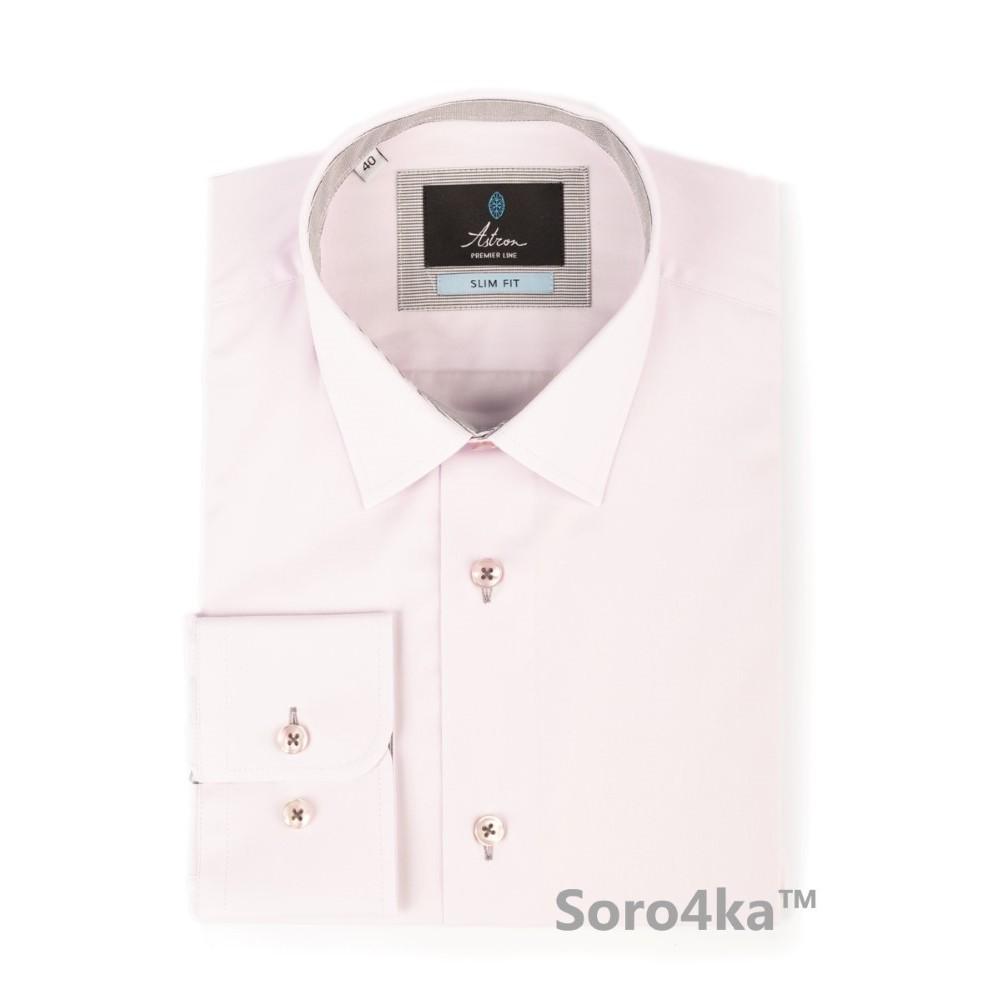 d5724463470 Розовая приталенная однотонная рубашка Slim fit Astron