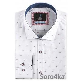 Біла приталена сорочка з рисунком Slim fit Astron