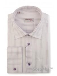 Офісна сорочка Middle Fit Astron White&Brown Premier Stripe