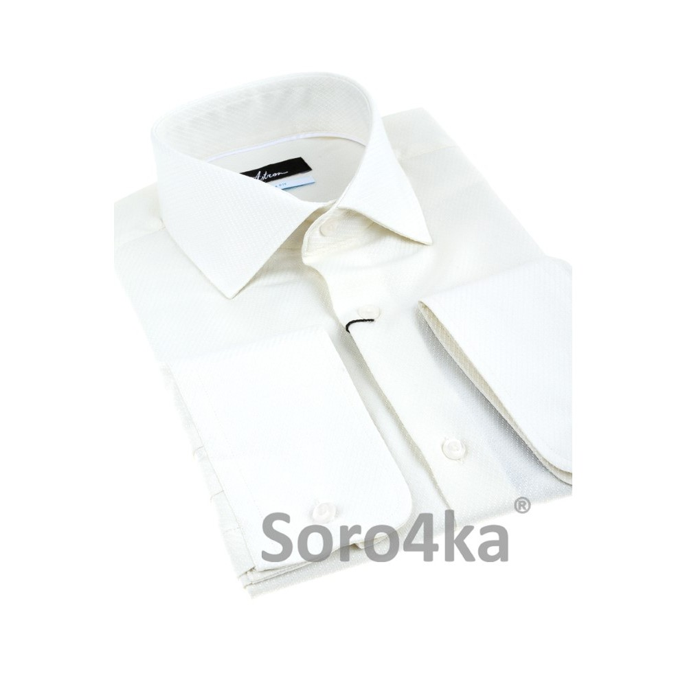 a404f4a6830 Приталенная мужская рубашка цвета айвори Slim fit Astron