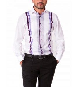 ЯРКАЯ РУБАШКА MIDDLE FIT ASTRON WHITE & PURPLE IT PREMIER STRIPE