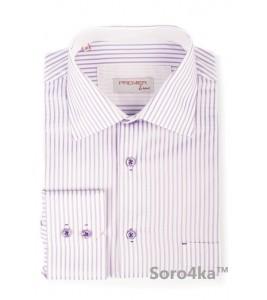 Комбінована фіолетова сорочка Astron в смужку