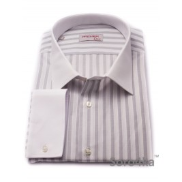 БОЛЬШАЯ СЕРАЯ РУБАШКА MIDDLE FIT ASTRON LIGHT GREY & WHITE WIDE STRIPE
