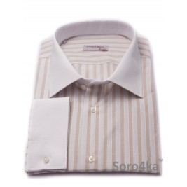 БОЛЬШАЯ СВЕТЛАЯ РУБАШКА MIDDLE FIT ASTRON LIGHT SANDY & WHITE WIDE STRIPE
