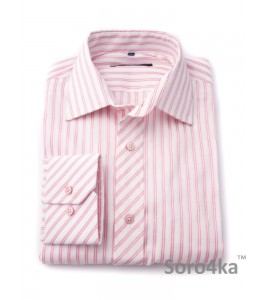 РОЗОВАЯ РУБАШКА SLIM FIT ASTRON WHITE & ROSE WIDE STRIPE
