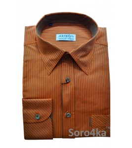 Оранжева сорочка Middle Fit Astron Casual Style Orange Stripe