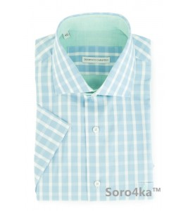 Стильна блакитна сорочка в клітинку DOMENICO CARAVELLI