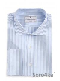 Голуба сорочка на запонки в смужку Slim fit Charles Wilson