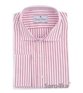 Сорочка на запонки в червону смужку Slim fit Charles Wilson