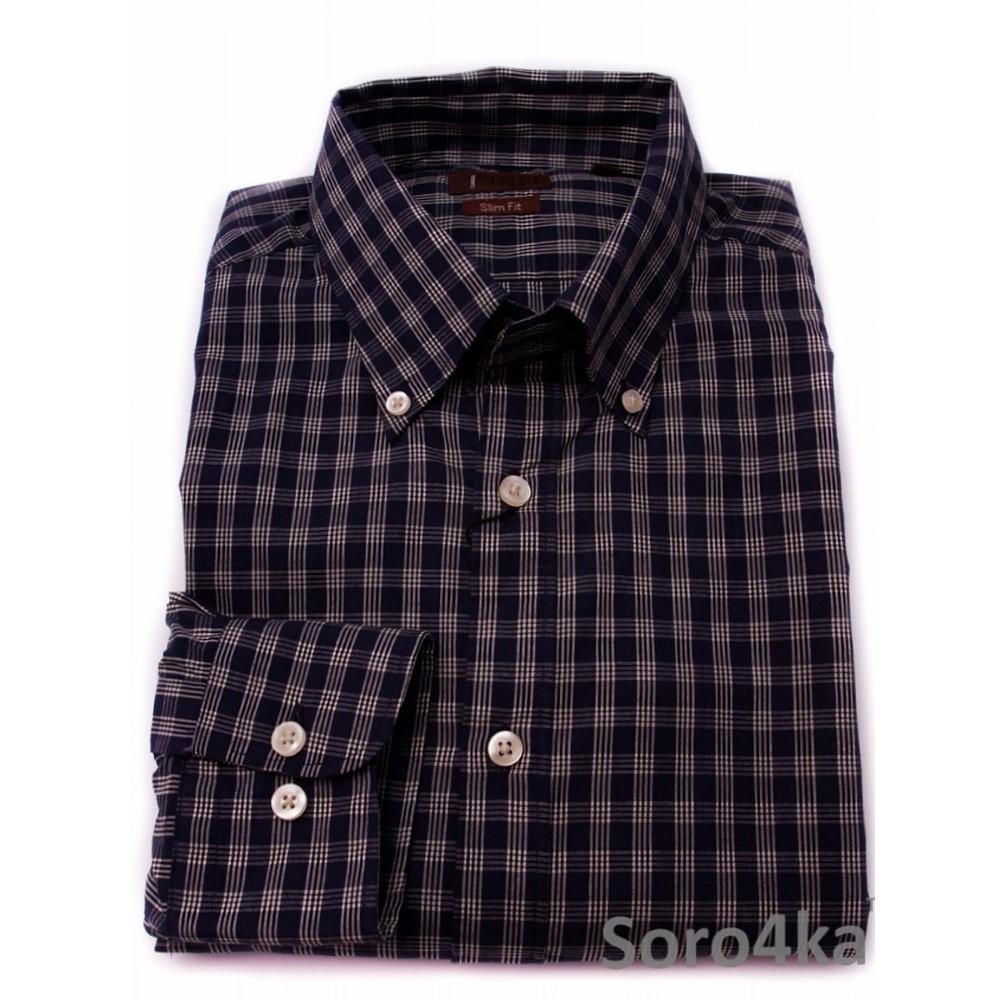 edb881bc1aa Темно-синяя клетчатая мужская рубашка Slim fit OVS