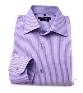 ГОЛУБАЯ РУБАШКА SLIM FIT FABRIK STYLE BLUE & PURPLE STRIPE