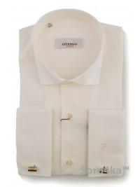 Кремова сорочка на запонки Slim fit Ottavo