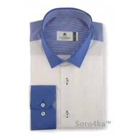 Біла сорочка Slim LATORRE з контрастним коміром