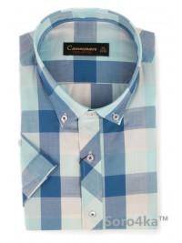 Модна синя сорочка на короткий рукав Camminare