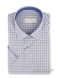 Голуба сорочка в клітинку на короткий рукав Bonjoly