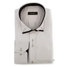Біла сорочка з чорним коміром Slim fit Brendoff