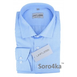 ТЕКСТУРНА БЛАКИТНА ПРИТАЛЕНА СОРОЧКА Limitless Slim fit