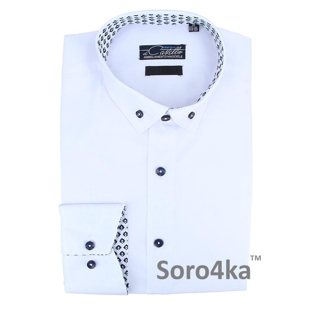 Купити класичну білу сорочку з підкладкою Classik Fit Maestro di Castello  на довгий рукав 52c13319534b5