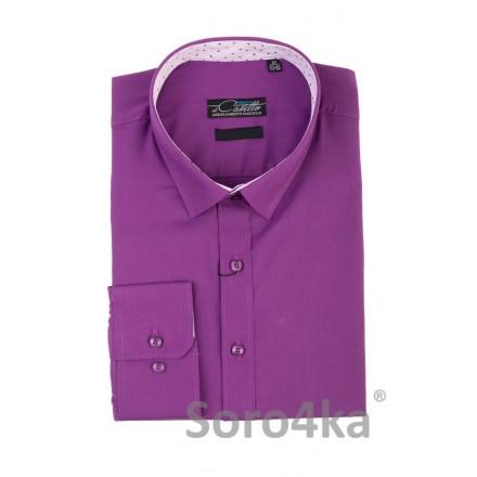 Фіолетова сорочка з білими вставками на комірі та манжетах Classik Fit  Maestro di Castello на довгий рукав 55cae5e74cdd9
