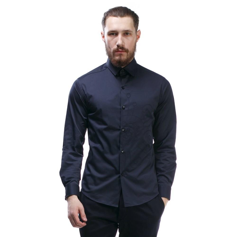 23c584f9eb9b546 Стильная мужская темно-синяя приталенная рубашка с длинным рукавом бренда  Maksymiv | Купить в интернет-магазине с бесплатной доставкой по Украине