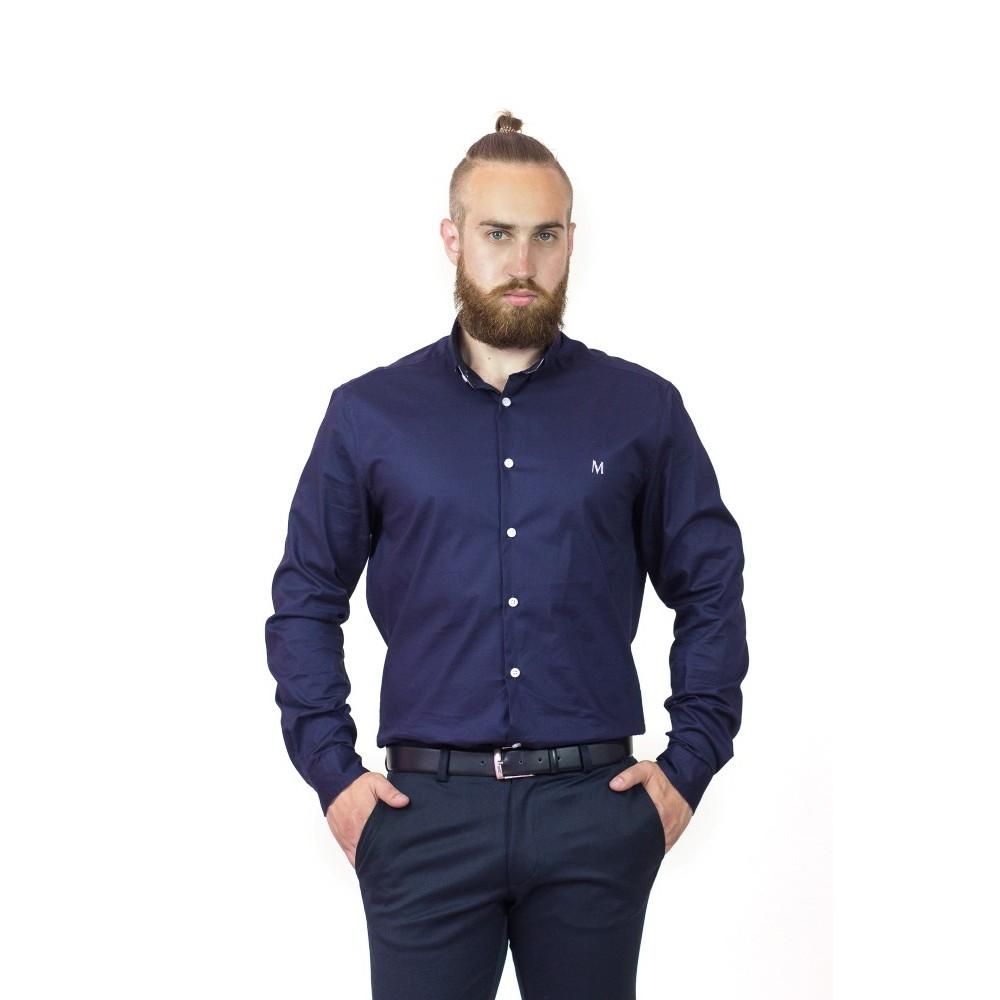 Классическая мужская темно-синяя рубашка с длинным рукавом бренда Maksymiv   bfd12a6756358
