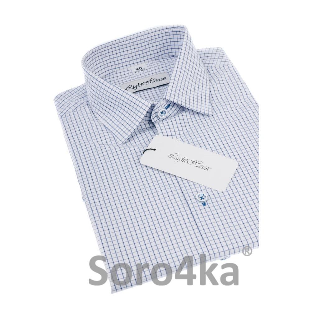 4a70a073489cb72 Купить белую полуприталенную мужскую рубашку в синюю клеточку Light ...
