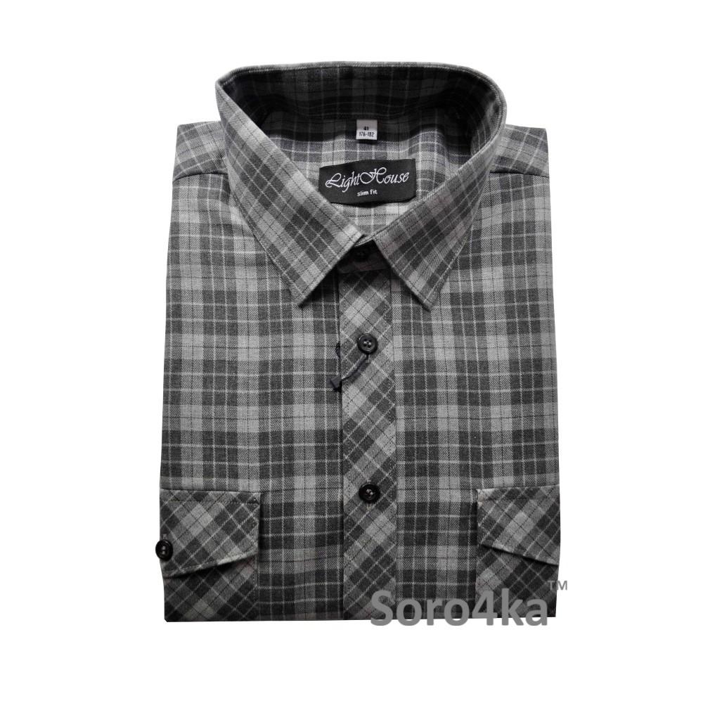 07a822955e6 Купить серую приталенную мужскую рубашку на осень LightHouse бренд в  клетку. Бесплатная доставка по Украине