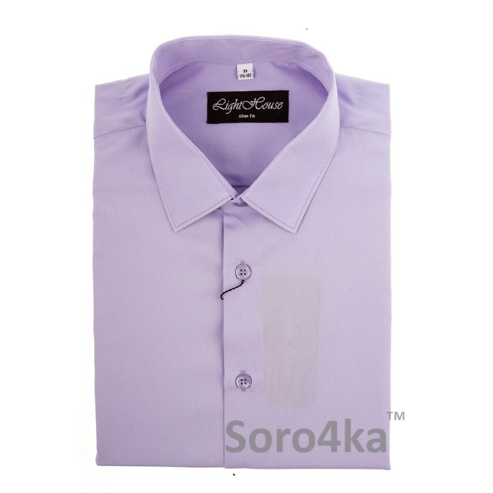 Купити світло-фіолетову приталену чоловічу сорочку Light House бренд.  Безкоштовна доставка по Україні 19fca10b59487