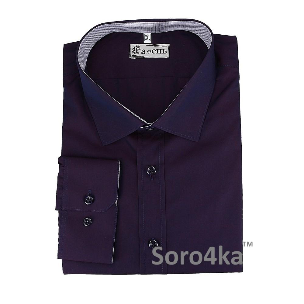Купити фіолетову чоловічу сорочку на довгий рукав Самець  026adc959cb25